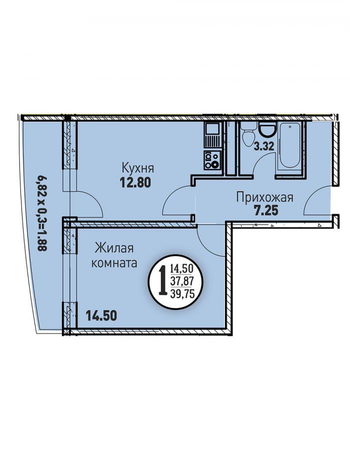 Однокомнатная квартира 39,75 (l125-12)  кв.м. в ЖК «Цветы»