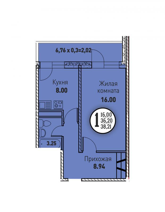 Однокомнатная квартира 38,21 (l125-4)  кв.м. в ЖК «Цветы»