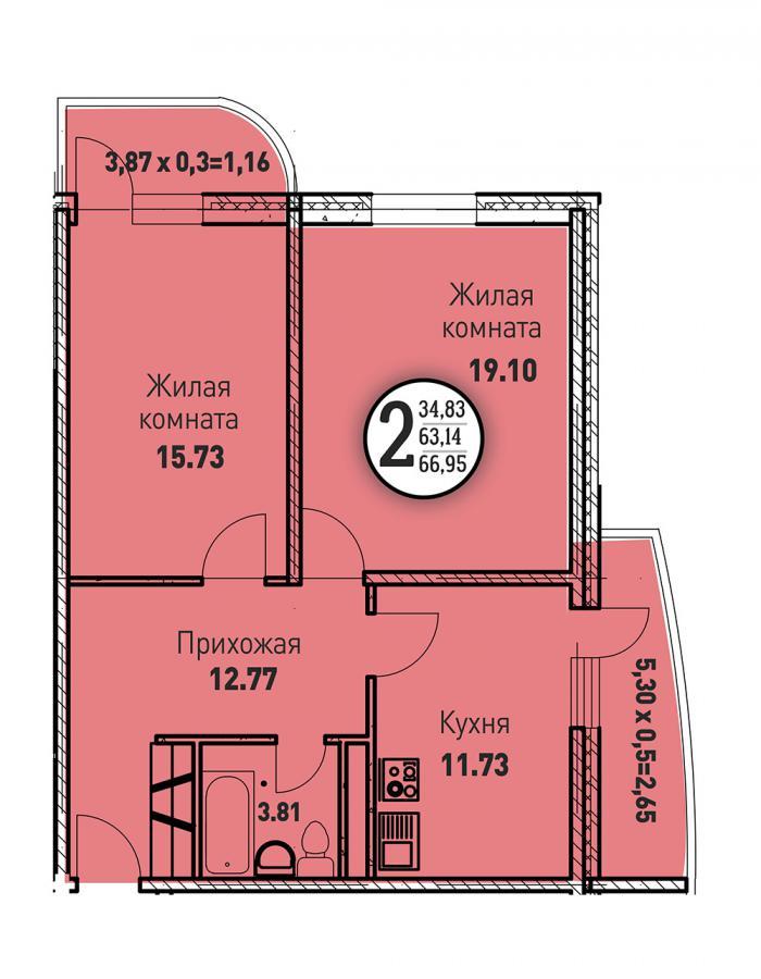 Двухкомнатная квартира 66,95 (l125-5)  кв.м. в ЖК «Цветы»