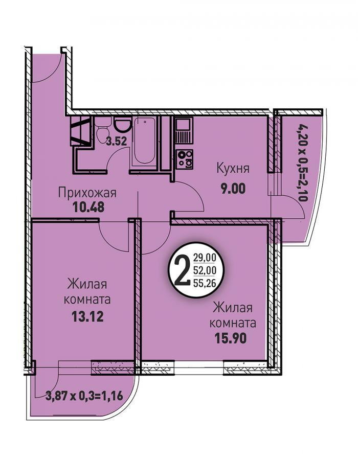 Двухкомнатная квартира 55,26 (l125-6)  кв.м. в ЖК «Цветы»