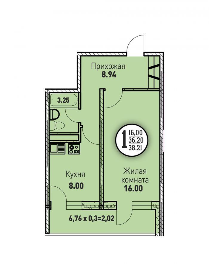 Однокомнатная квартира 38,21 (l125-7)  кв.м. в ЖК «Цветы»