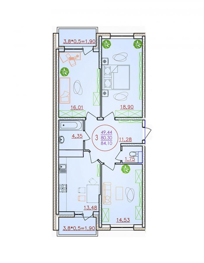 Трёхкомнатная квартира 84,10 (l1-1-1)  кв.м. в ЖК «Красная Площадь»