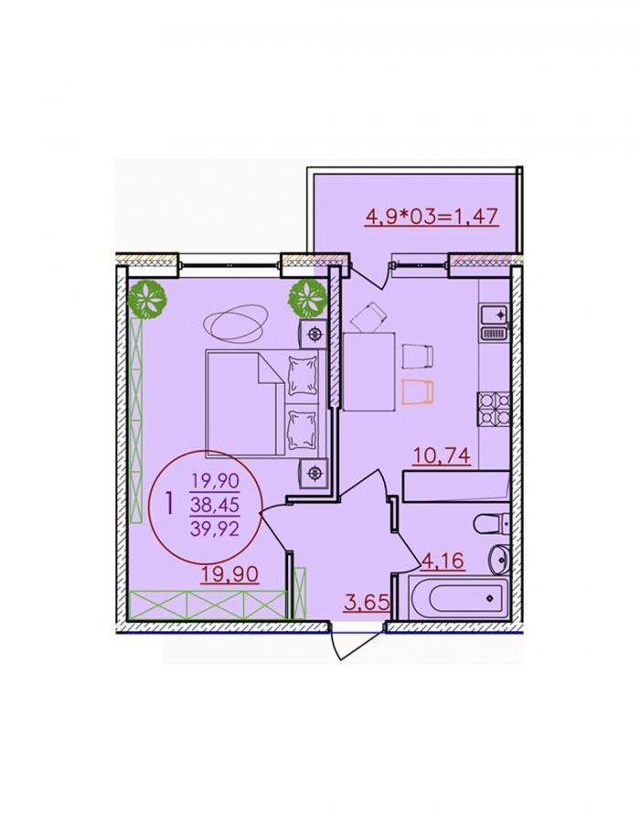 Однокомнатная квартира 39,92 (l1-1-2)  кв.м. в ЖК «Красная Площадь»