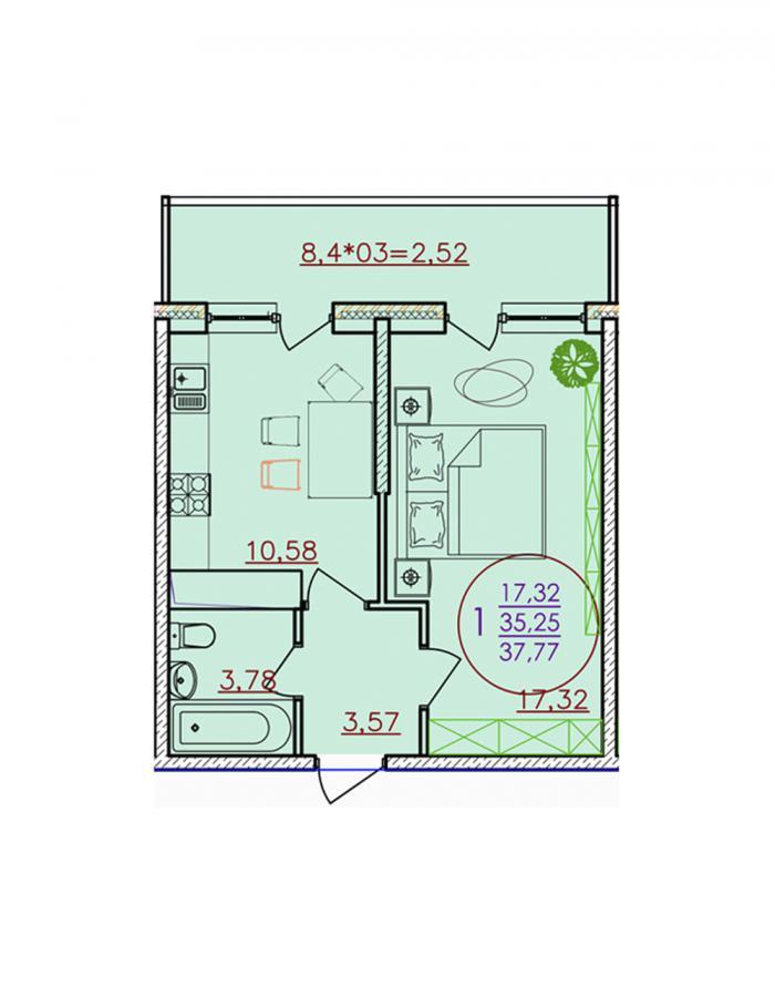 Однокомнатная квартира 37,77 (l1-1-3)  кв.м. в ЖК «Красная Площадь»