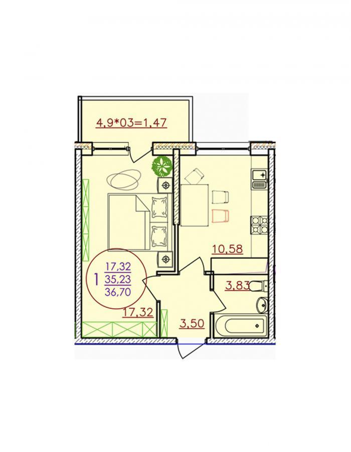 Однокомнатная квартира 36,70 (l1-1-4)  кв.м. в ЖК «Красная Площадь»