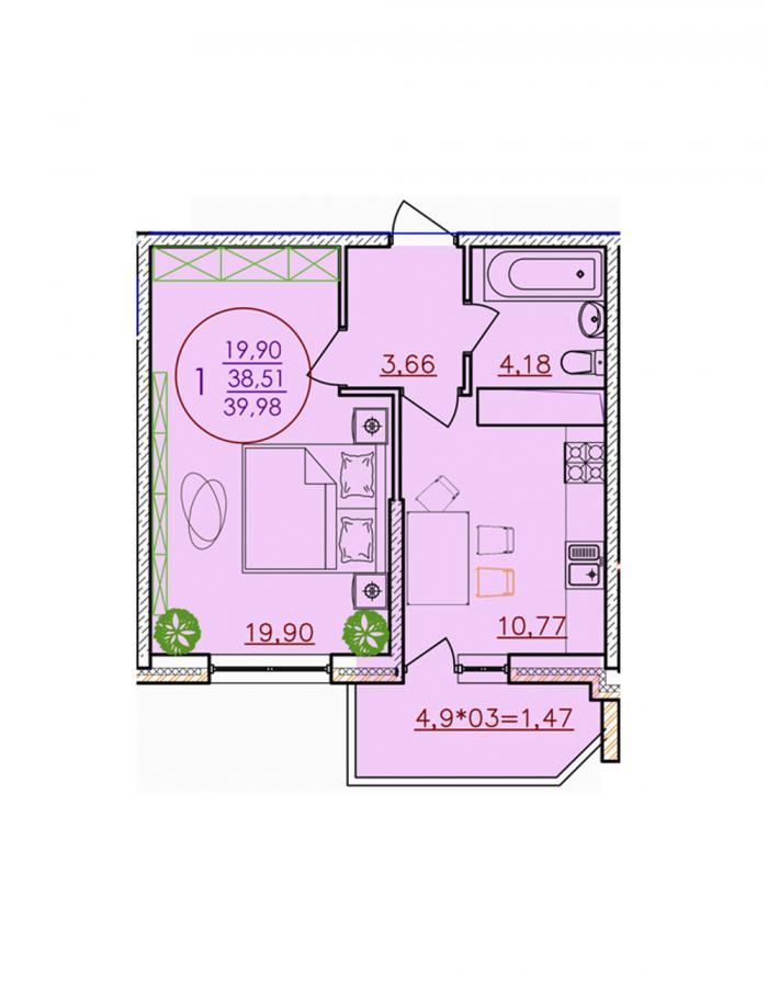 Однокомнатная квартира 39,98 (l1-1-8)  кв.м. в ЖК «Красная Площадь»