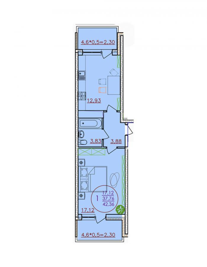 Однокомнатная квартира 42,36 (l1-2-9)  кв.м. в ЖК «Красная Площадь»