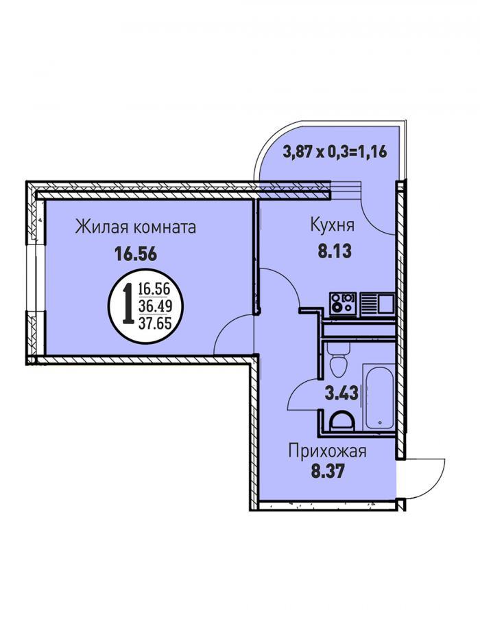 Однокомнатная квартира 37,65 (l3467-1)  кв.м. в ЖК «Цветы»