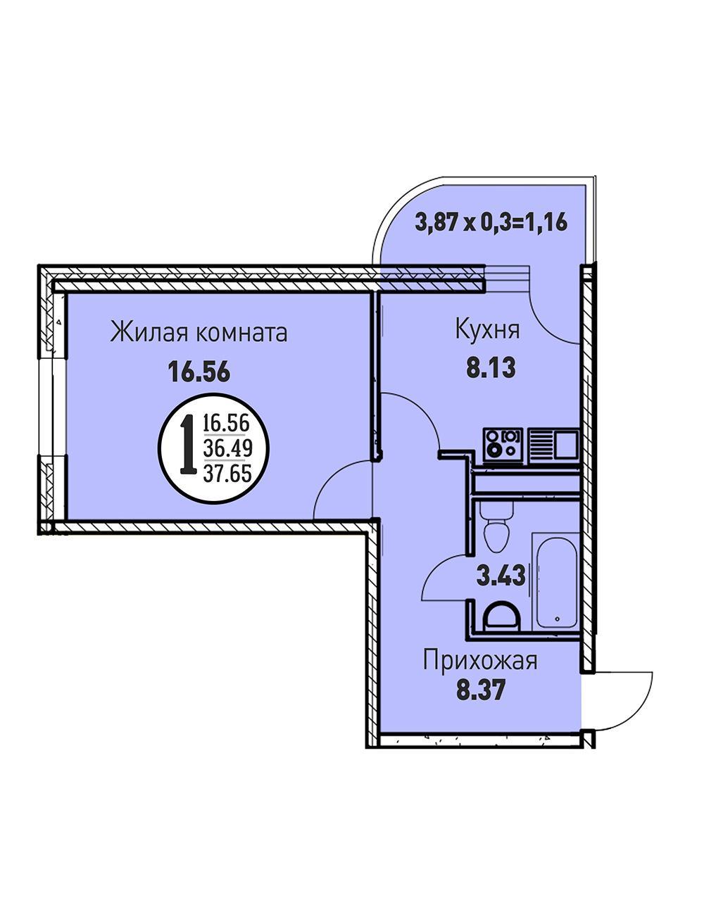 ЖК «Цветы» Квартира 37.65 (Ипотека 7,4)