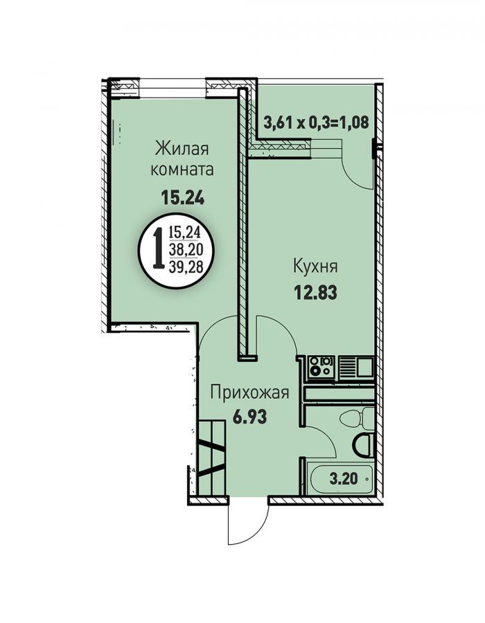 Однокомнатная квартира 39,28 (l3467-2)  кв.м. в ЖК «Цветы»