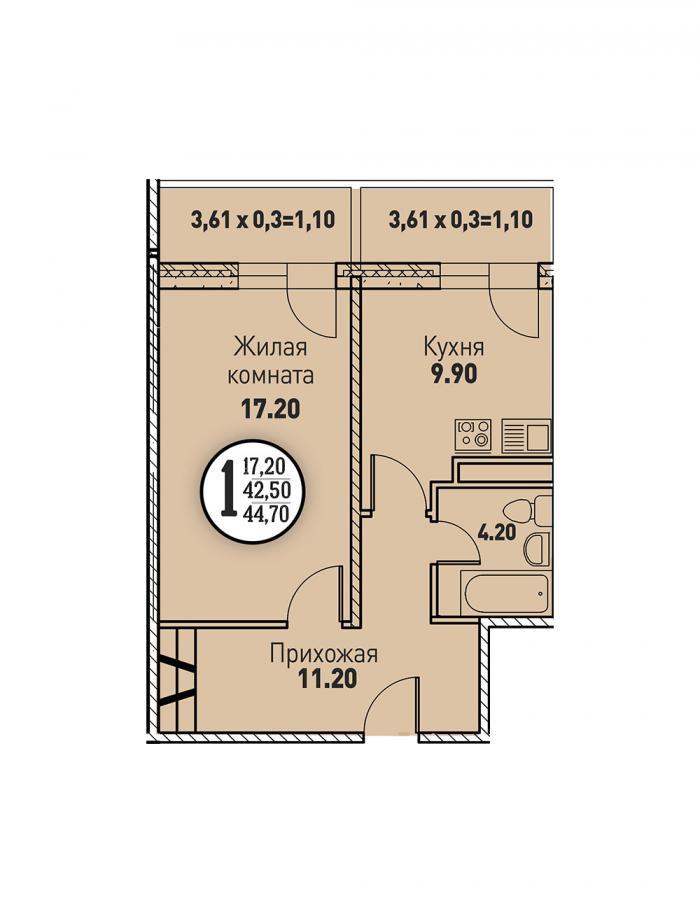Однокомнатная квартира 44,70 (l3467-3)  кв.м. в ЖК «Цветы»