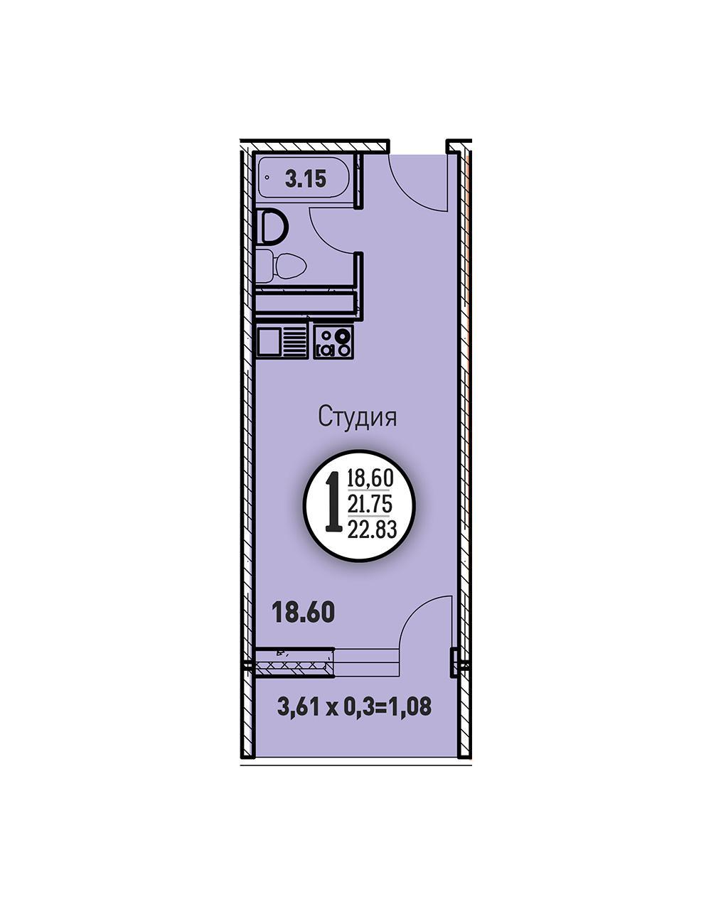 ЖК «Цветы» Квартира 22,83(Ипотека 7,4)