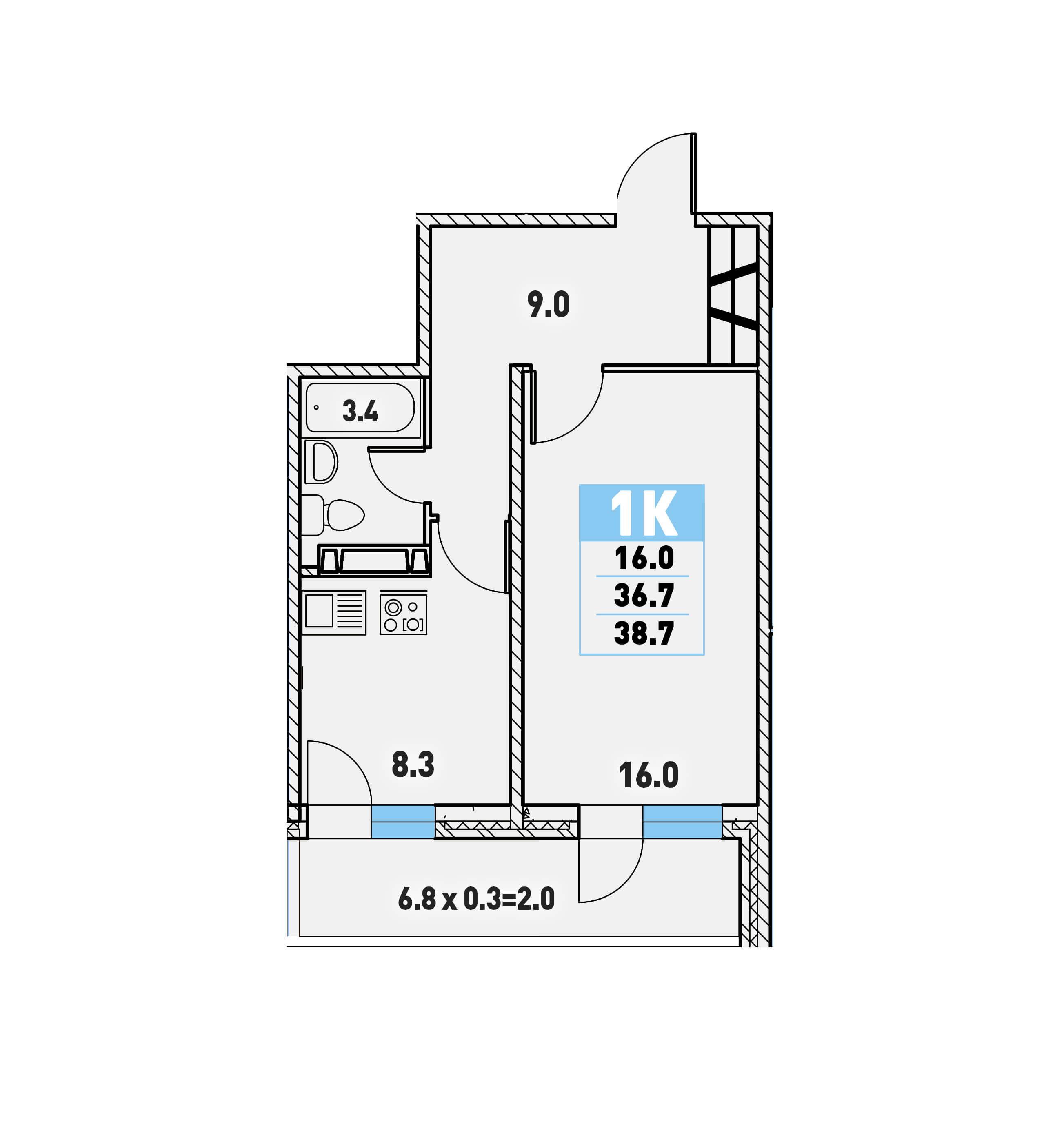 9c164660c829e Однокомнатная квартира 38,7 (l125-7) в Краснодаре в ЖК «Цветы»