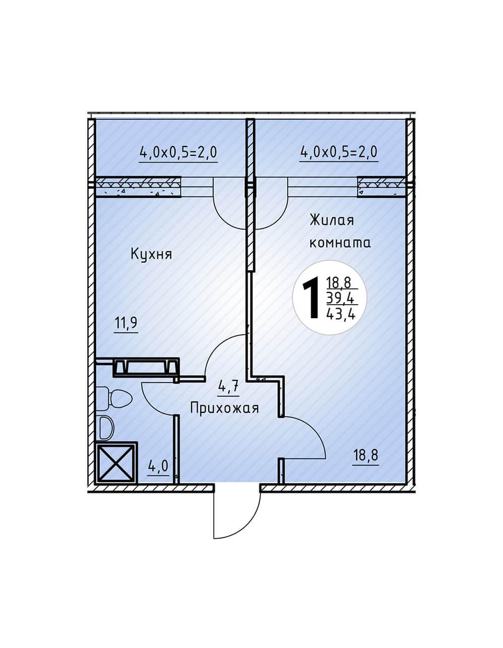 ЖК «Цветы» Квартира 43,4(Ипотека 5 5 процентов от ВТБ)