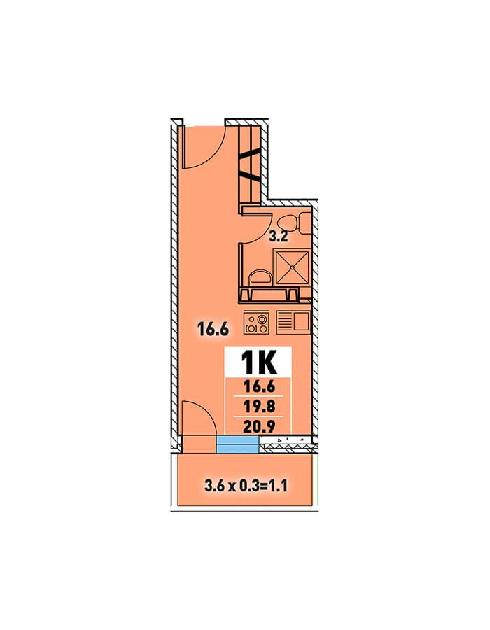 ЖК «Цветы» Квартира 20,9 (Ипотека 8,2 Сбербанк)