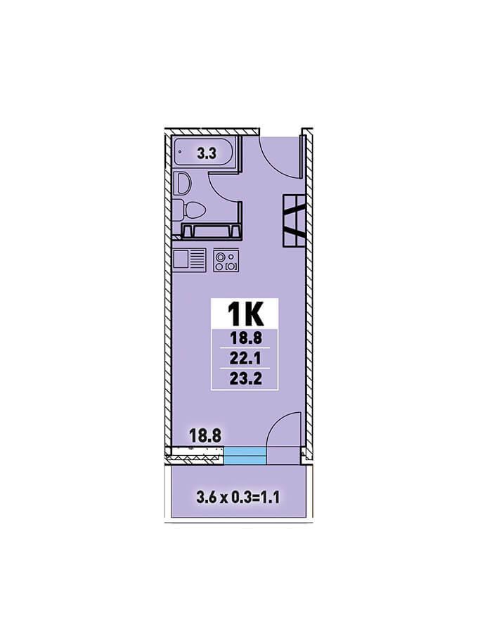 ЖК «Цветы» Квартира 23,2(Ипотека 8,2 Сбербанк)