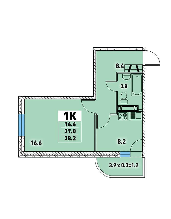 0af63fa3a85dc Однокомнатная квартира 38,2 (l125-11) в Краснодаре в ЖК «Цветы»
