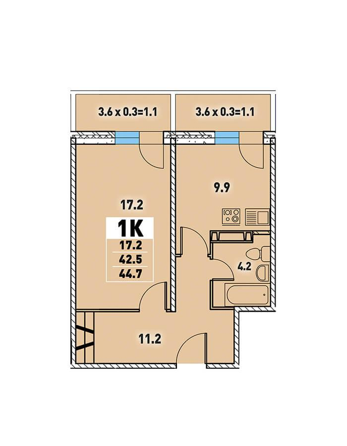 ЖК «Цветы» Квартира 44,7(Ипотека 5 процентов от ВТБ)