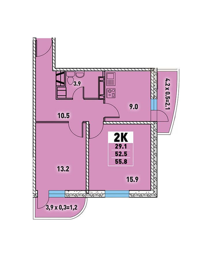 ЖК «Цветы» Квартира 55,8(Ипотека 8,2 Сбербанк)
