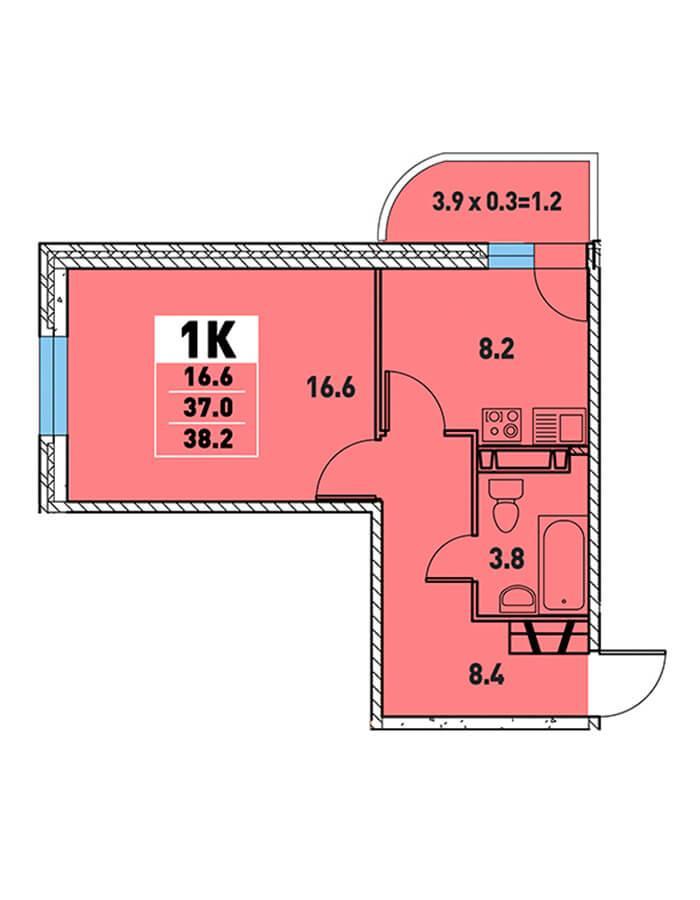 ЖК «Цветы» Квартира 38,2(Ипотека 8,2 Сбербанк)
