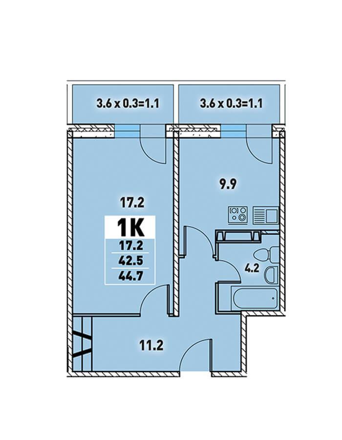 ЖК «Цветы» Квартира 44,7 абронировать
