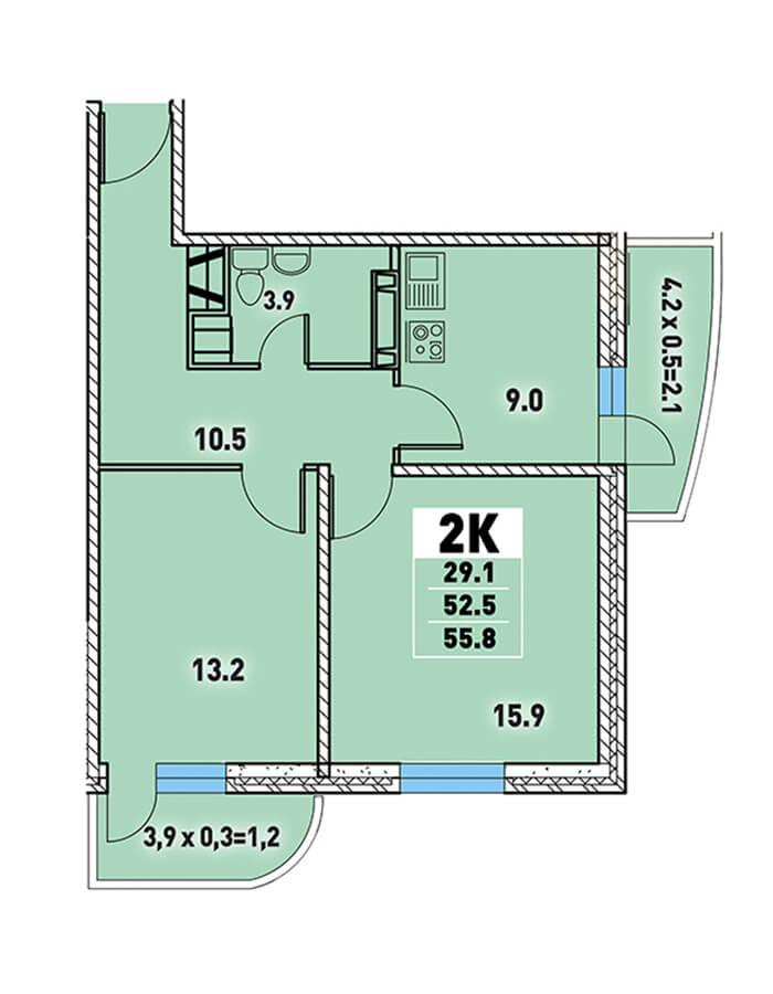 ЖК «Цветы» Квартира 55,8 Забронировать