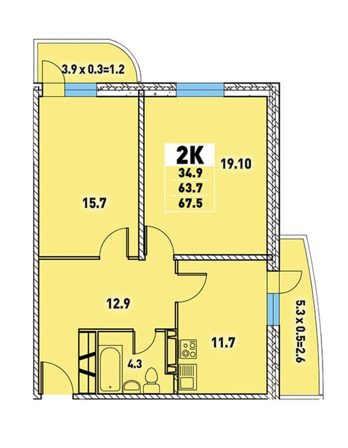 ЖК «Цветы» Квартира 67,5(Ипотека 8,2 Сбербанк)